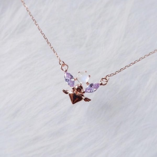 moon stone necklace, flower necklace, 月亮石頸鏈 ,女朋友禮物